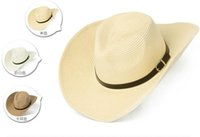 Wholesale summer UV sunscreen hats for Men s Large brimmed straw Fisherman caps hat Straw Sandy beach curling caps