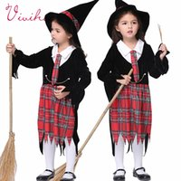 Wholesale Little Witch Cosplay Halloween Costumes England Plaid Skirts Girls Carnival Fancy Velvet Dress Witches Hat Kids Sets Magic Student Uniforms