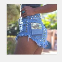 Wholesale 1993 Women s Fashion Brand Vintage Tassel Rivet Ripped Loose High Waisted Short Jeans Punk Sexy Hot Woman Denim Shorts