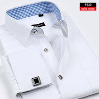 Wholesale DS1 New Arrival French Cuff Button Men Dress Shirts Classic Slim Fit Long Sleeve Brand Formal Business Fashion Shirts Grooms Wedding Shirts