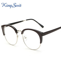 Wholesale KingSwit Newest Semi Rimless Eyeglasses For Men Women Black Round Frame Eye Glasses Retro Optical Eyewear KE079
