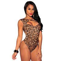 Wholesale Sexy Leopard Bodysuit Xl - 2015 New Summer Sexy Club Jumpsuit Women Hollow Leopard Print Rompers Black Shorts Bodycon Bodysuit Playsuit Overalls for Women X135