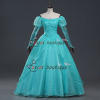 ball ariel - The Little Mermaid Princess Ariel dress blue Adult girl Fancy ball gown party costume