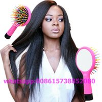 Wholesale Rainbow Volume S Brush Hair Comb Hair Curl hairdresser Magic Perm Wave Straight Beauty Comb with Mirror styling tools