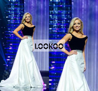 Wholesale Miss Alabama Teen USA Pageant Formal Dresses with Scoop Neck Black Top and Ivory White Skirt Beaded Waist Prom Evening Gowns Sexy