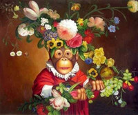 Wholesale Genuine Handpainted Art oil Painting On Canvas Museum Quality lovely monkey with beautiful flowers