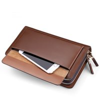 Wholesale Genuine leather double zipper hand bag men s hand bag men s wallet long paragraph business grasping bag men package