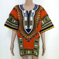 Wholesale fashion dress African DASHIKI shirt kaftan Boho hippie gypsy festival top traditional African print Bodycon T Shirt