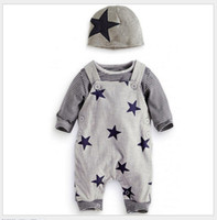 Wholesale Three Pieces Set Baby Boys Autumn Clothing Sets Infant Long Sleeve Striped T shirt Stars Printing Suspender Rompers Pants Hats Toddler Suit