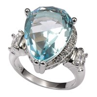 Wholesale Shiny Aquamarine With Multi White Sapphire Sterling Silver Ring Factory price For Women Size F1496