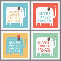 animal love sayings - 4pcs saying decoration colorful posters wall art picture animal elephant love red heart Canvas Painting children room unframed