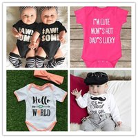Wholesale Toddler infant baby rompers letters print cotton newborn jumpsuit INS Baby Boys Rompers Lovely Child Letters Printed One piece Bodysuit