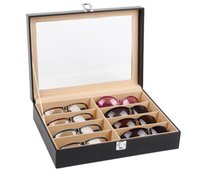 Wholesale Hot selling High grade black leather glasses to receive a case Sunglasses portable collection box Display box frames