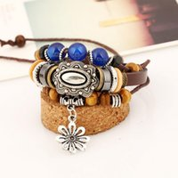 asian handbags - Bracelet male retro personality handmade jewelry cowhide beaded bracelet Europe and the United States tide men leather handbags national win