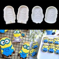 Wholesale 2pcs Minions Cake Fondant Plunger Cutter Mold Biscuit Cookies Mould Decor Tool