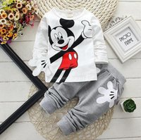Cheap Minnie Mouse Sets For Baby Boys Girls Casual Outfits Clothing Mickey Cartoon Kids Print T Shirts+Sport Pants Trousers 2PC Track Suit Costume