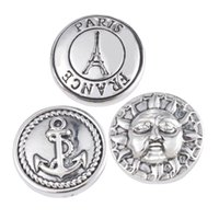 anchor material - Jewelry DIY Materials Anchor Eiffel Tower Sun Carved Snap Buttons For Fine Snap Jewelry Making Silver Tone x2cm noosa