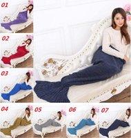 Wholesale DHL Free Super Soft Manual Knitting cartoon Mermaid Tail Blanket Sofa Blanket air condition blanket siesta blanket X90cm