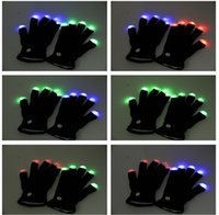 big boxing gloves - Flash Color changing LED Glove Rave light led finger light gloves light up glove For Party favor music concert