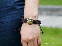 Wholesale 12 Constellation Bracelet adjustable zodiac genuine leather bracelets bangle cuff for women men Multilayer Wristband punk jewelry