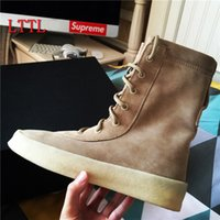 Wholesale New Fashion Popular Superstar Designer Kanye West Shoes Woman Military Crepe Boots Women Black Brown Lace Up Flat Autumn Ankle Boot In Stock