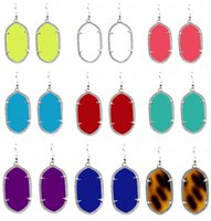 Wholesale Christmas Gift Kendra Style Silver Plated Oval Resin Gem Dangle Earrings Fashion Dangle Earrings for Women