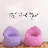 adhesive monograms - Eat Drink Enjoy Wall Quote Decal Stickers Home Decor English Words Monogram Wall Art Mural Poster Decor Wallpaper Art Stickers