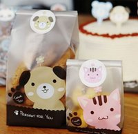 Wholesale 500pcs Food Packaging Bags Sealed Stickers Cookie Mini Bear Print Plastic Candy Cake Cookies Bags Christmas gifts Bags