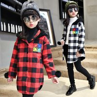 Wholesale Long checks Coat Kids Girls tops fashion embroidery pattern letter jacket girls autumn winter warm coat clothing casual denim jacket Outwear