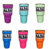 Wholesale Yeti Mugs Large Capacity Stainless Steel Tumbler Mugs YETI Rambler Cups Pink Blue Light Blue Orange Purple Light Green