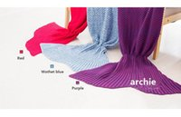 baby blanket cozy - New Pure Cotton Adult Baby Kids Crochet Crocodile Mermaid Tail Lap Blanket Single Air Conditioning Sofa Cozy Throw Blanket