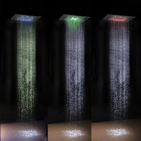battery powered shower light - Hot sale new design RGB automatic color changing lighted bathroom LED shower head no battery led shower head water flow power led shower