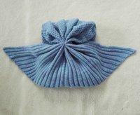 Wholesale New cm Knitted Mermaid Tail Blanket Fleece Cotton Acrylic Single Kids Swaddles Anti Kick Air Condition Sofa Blanket