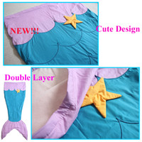 Wholesale 2016 New Kids Sleeping Bag Double Layer Embroidery Mermaid Tail Blankets Cute Starfish Mermaid Camping Sleeping Bags For Children