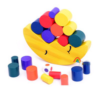 balance exercises for kids - Wooden baby Toy Building Blocks moon colorful balance Exercise game best gift for baby kids toys