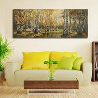 art birch - Impressionist Oil Painting on Canvas Large Autumn Birch Trees Landscape Art Wall Picture for Living Room Decor x28 No Framed