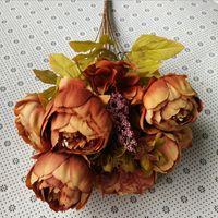 autumn table decorations - 50pcs colorful High grade flowers peony simulation European Silk Core autumn peony flowers suits for table decoration display flower