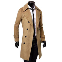 Wholesale Black Camel Dark Grey Male Trench Coat British Style Double Breasted Long Coat Men Brand Clothes