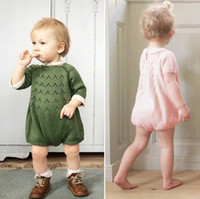 Wholesale 2016 Ins Hot Cute Sweet Pink Green Cotton Romper Dress Jumpsuit Knitted Sweater For Y Baby Boys Girls Children Clothing