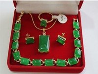 beautiful red jewellery - gt gt Beautiful green jade K GP Pendant Bracelet Earring Ring Jewellery set