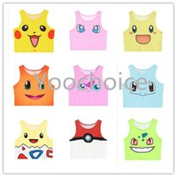 Wholesale Poke Mon Print Tops Sexy Girls Fashion Cosplay Costume Pocket Monster Sailor Moon Crystal Cute Crop Tops Vest Tank Tops Shirt