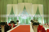 Wholesale 1PCS mL mH Left Right Side Open White Ice Silk Fabric Backdrop Curtain For Wedding Decor