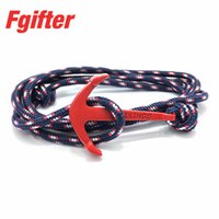 Wholesale Men Anchor Bracelets Navy Colorful Rope Handmade Bracelet Red Anchors Jewelry for Men Women
