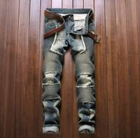 big boy motorcycles - Balmain European version denim biker jeans fashion mens jeans feet tight stitching big punk style motorcycle pants BOY