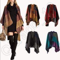 Wholesale Cashmere Scarf Patchwork Plaid Poncho cm Women Winter Cape Poncho Wrap Shawl Blanket Cloak colors OOA802