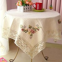 Wholesale Square Handmade Embroidery Flowers Vintage Table Cover Lace Beige Cotton Tablecloth