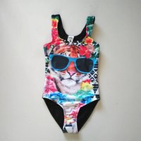 Wholesale 7 Y Miss Understood Girls Piece Print Tiger with Sunglasses Swimsuit banador chica swimming clothes for kids zwempak meisje free shippin