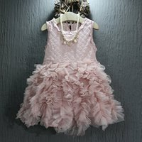 Cheap Girls Cake TUTU Dresses 2016 Summer Sleeveless Kids Tulle Dress Children Princess Party Dress Baby Clothing Girls Wedding Dress t730