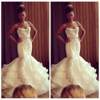 al por mayor vestidos de novia estilo sirena negro-2017 vestidos de boda de la sirena del amor con gradas vestidos de novia de organza con cuentas de cristal de la blusa del estilo africanos negros de las muchachas del vestido de boda formal