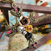 Cheap Fashion jewelry Punk Style Retro Cross With Rose Flower Crystal Diamond Skull Pendant Necklace C004 Valentine's Day Gift cheap Free Shipping
